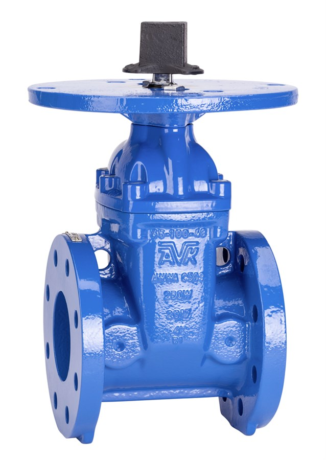 AVK resilient seated gate valve, flanged, fire protection UL&FM, post indicator flange